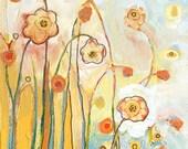 Orange & Blue Garden 8 x 8 inch Fine Art Bamboo Print by Jenlo