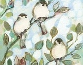 Chickadee Family Fine Art Print by Jenlo