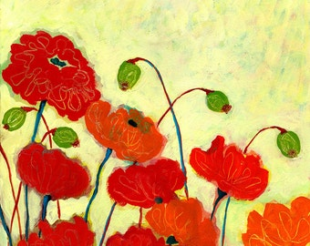 """Red Poppies """"Wishful Blooming"""" Fine Art Print by Jenlo, 8x10 and larger"""