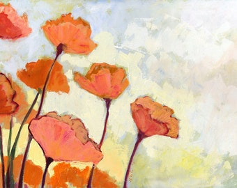 """Impressionist Peachy Pink - """"Poppies in Cream"""" - Fine Art Print by Jenlo, 8x12 and larger"""