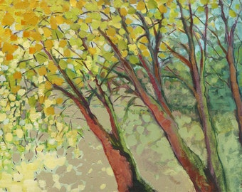 "Impressionist Trees - ""Afternoon at the Park"" -  Fine Art Print by JENLO with Mat Option, 8x12 and larger"