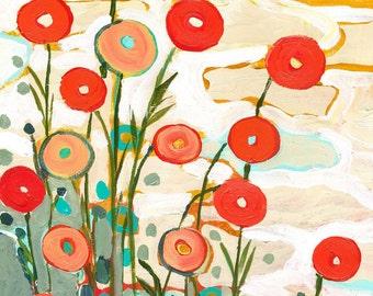 "Abstract Flowers - ""Under the Desert Sky"" - Fine Art Print by Jenlo"