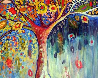 """Modern Abstract - """"Fiesta Tree"""" - Fine Art Print by Jenlo"""