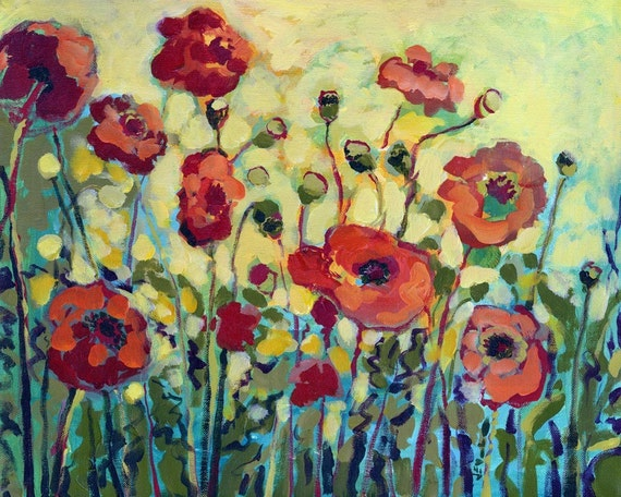 Impressionist Floral - Anita's Poppies - Bamboo Fine Art Print by Jenlo