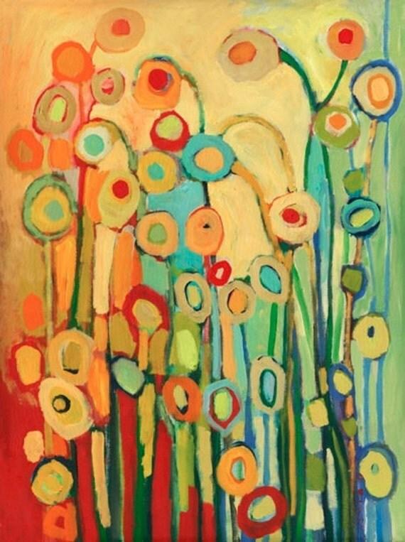 "Modern Poppy Abstract - ""Dance of the Flower Pods"" - Fine Art Print by Jenlo"