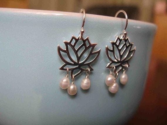 Lotus flower with pearls - sterling silver lotus flower earrings, pearls, genuine pearls