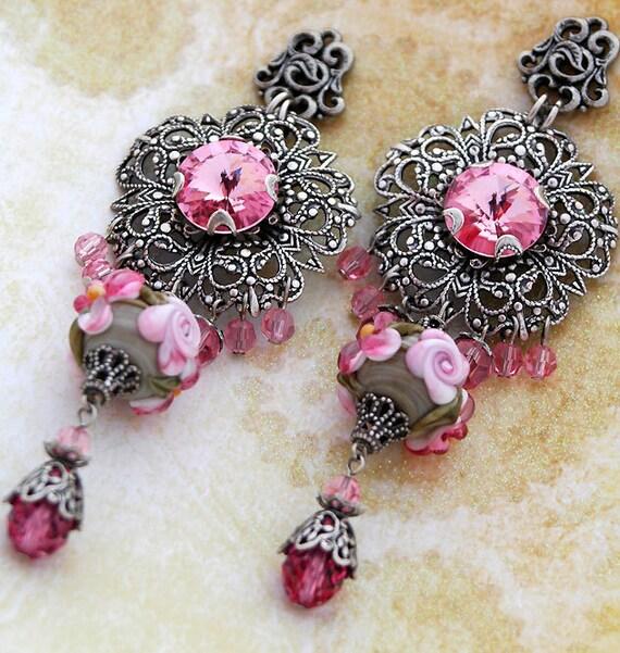 Pink Lampwork Earrings, Floral Flower Chandelier, Ornate Silver, Crystal