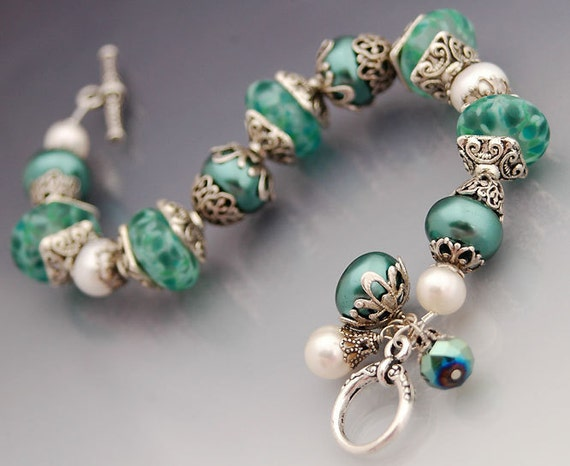 RESERVED - Silver Teal Bracelet with Lampwork Glass Beads, Fresh Water Pearls - Grecian Sea