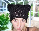 Purrfect Kitty Ear Hat-In Basic Black-Emo-Beanie