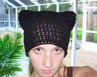 Purrfect Kitty Ear Hat-In Basic Black-Emo-Beanie-Cat Ear Hat