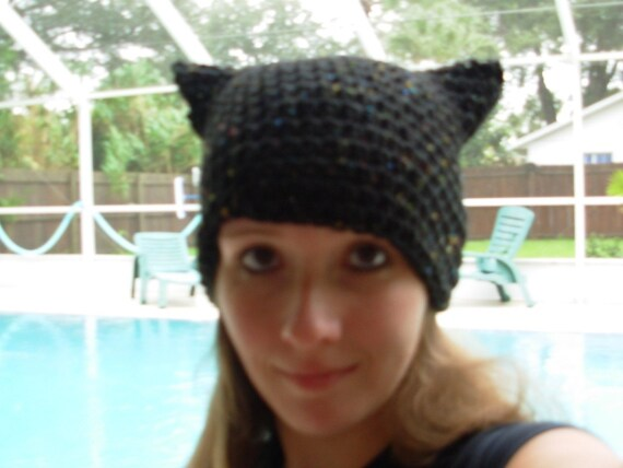 Purrfect Kitty Ear Hat-In Black Fleck