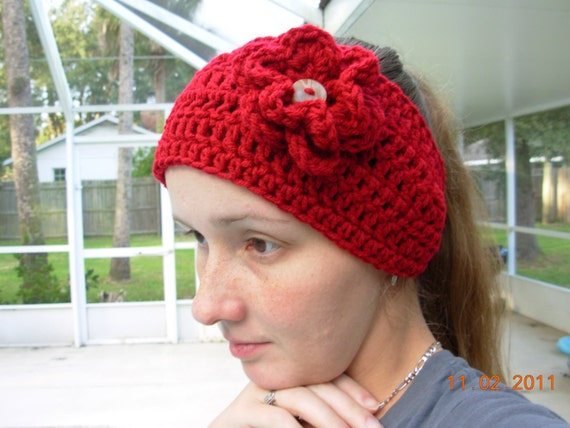 Headband /Earwarmer/Wrap With Flower