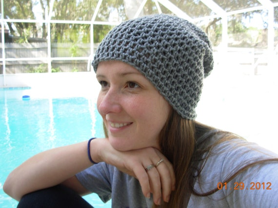 Slouchy Hat-Heather Gray