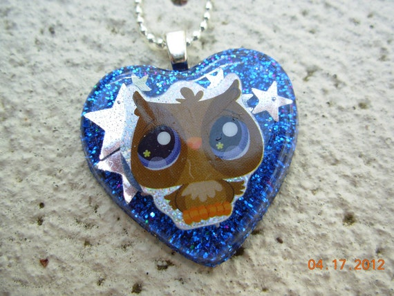 Owl Glitter Resin Necklace
