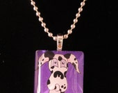Handmade Harlequin Great Dane Dog Art Painting Pendant Necklace Jewelry