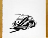 Volkswagen Beetle linocut