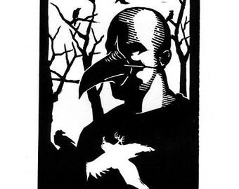 Self as Bird -  4.5 x 6 Linoleum print