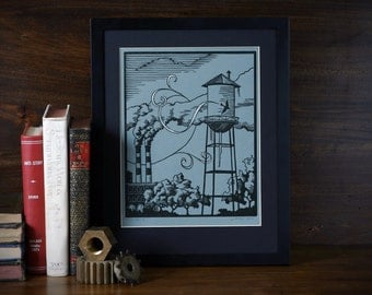 Tower Swirls at Midnight - 8 x 10 Linoleum print