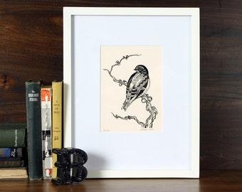 Solitude - 5x7 letterpress linocut