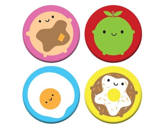 Kawaii Breakfast Badge Set - Look Around