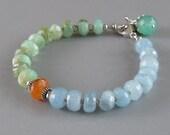 Peruvian Opal Aquamarine Chrysoprase Sterling Silver Bead Bracelet