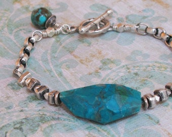 Huge Chrysocolla Bracelet Nugget Turquoise Sterling Silver Chain Fine Silver Bead