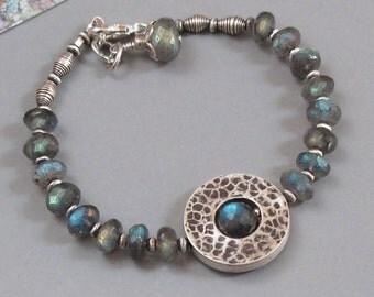 Labradorite Sterling Silver Bracelet Circle of Life Bead DJStrang Color Flash Blue GreenSpectrolite Gemstone Boho Cottage Chic