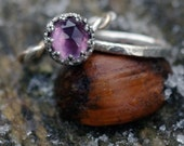 African Amethyst Stacking Ring - African Amethyst and Argentium Sterling Silver with 14k Gold Fill