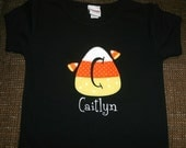 Halloween Candy Corn Personalized Initial Appliquéd Tee