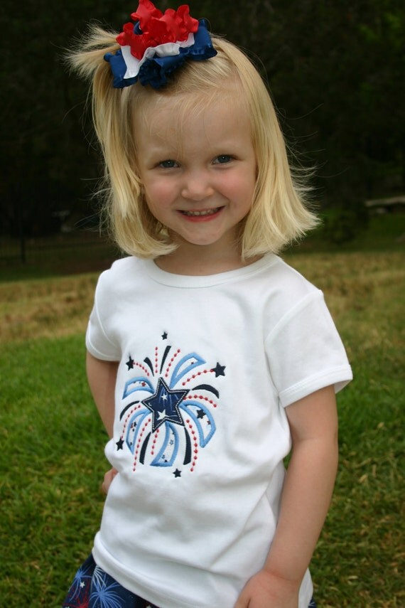 SALE Ready to Ship Boutique 4th of July Sweet Firework Appliqued Tshirt and Twirl Skirt Size 4