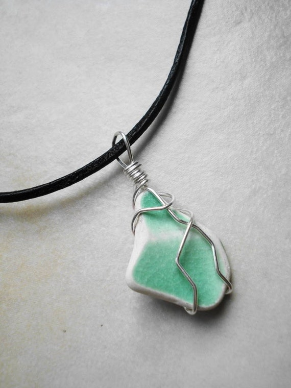 Sterling Silver Wire Wrapped Mint Green Beach Pottery Pendant Beach Glass, Sea glass