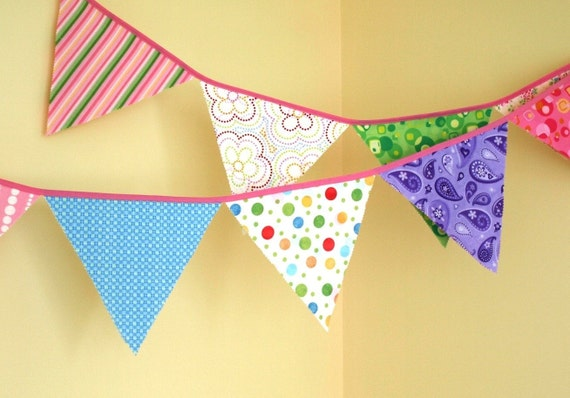 Fabric Bunting - Bright Pastels