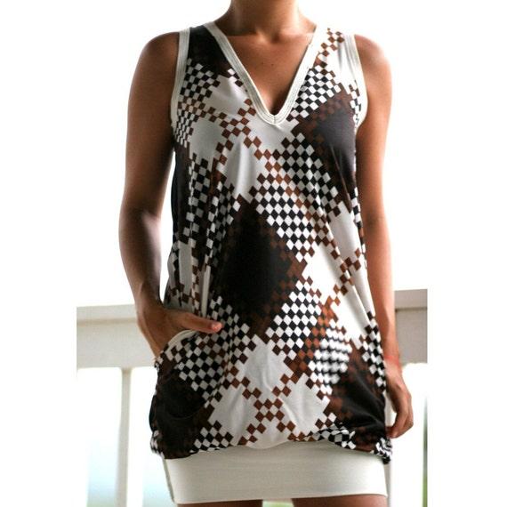 tank dress in abstract plaid (handmade)