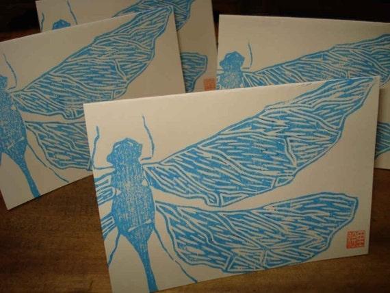 dragonflies are blue (original woodblock print)
