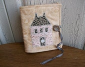 House Quilted Needlecase-Needlebook in Pink Tan and Black