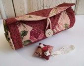 Quilted Patchwork Fabric Case 3 and Little Pincushion in Victorian Red