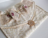 Romance Bridal Prom Clutch Bag in Antique White and Cream