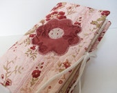 Quilted  Appliqued Rose Needlecase-Needlebook Jewelry Case in Pink and Red