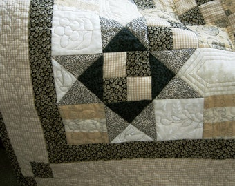 Provence Garden Bees Quilt, Patchwork quilt, Throw quilt. lap quilt, Gold, Beige, Black, Cream, Quilted, Contemporary, Home Decor, bed throw