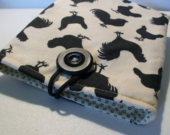 Tablet Reader Sleeve Case, Kindle, Black, Cream, rooster fabric, walker or wheelchair accessory, ready-to-ship