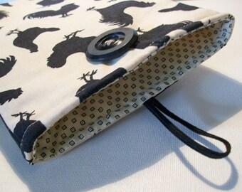 Kindle Kobo Ereader Sleeve Case, Black, Cream, rooster fabric