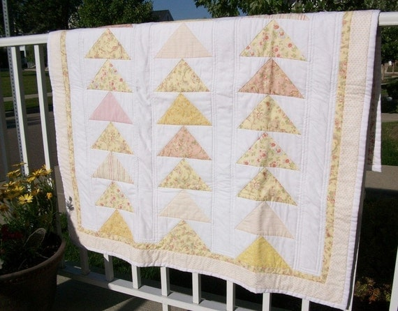 Patchwork Quilt, yellow, pinks, throw, quilted, baby quilt, toddler quilt, nursery, playroom, porch quilt, home decor, shabby chic, throw