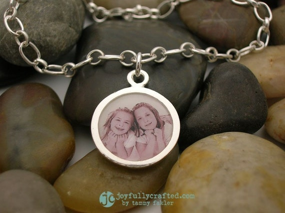 Hand stamped Personalized Custom Sterling Treasure Photo Charm Bracelet