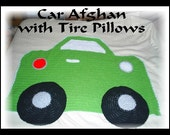 Toddler Car Afghan with Pillow Tires CUSTOM color