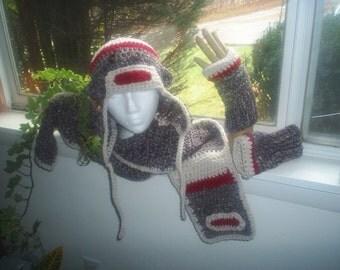 Crochet Sock Monkey Scarf ONLY