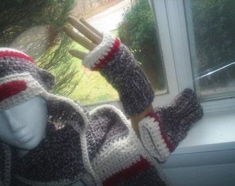 Crochet Sock Monkey Fingeless Gloves/ Mitts Only