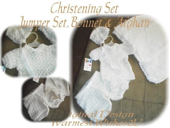Crochet Christening Onesie, Shorts, Bonnet, and Afghan Set - PDF Pattern - ORIGINAL DESIGN