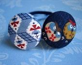 Owls in Blue Hair Ties