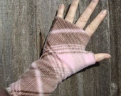 Wrist Warmers, NEW Pink and Brown plaid, washable fleece
