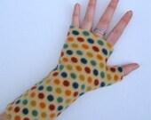 Skittles, Fingerless gloves, wrist warmers,  soft, washable fleece